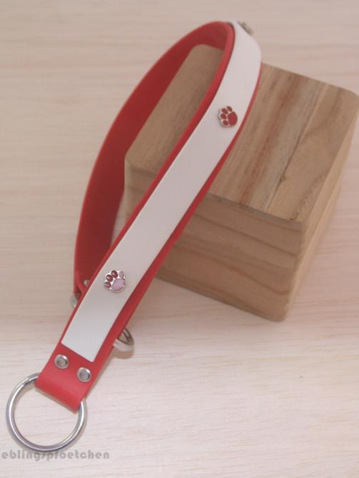 Zugstopphalsband in weiß-rot