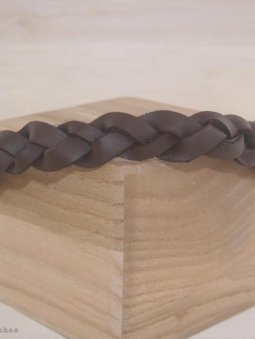Biothane Halsband in Braun, geflochten